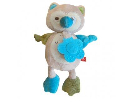 Dětská plyšová hračka SOVA s kousátkem a chrastítkem 20x15 cm