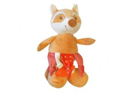 Dětská plyšová hračka LIŠKA s kousátkem a chrastítkem 20x15 cm