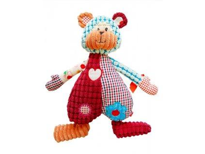 Dětská originální patchvorková hračka MEDVÍDEK 33 cm