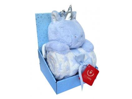 Dárkový set - dětská deka s hračkou JEDNOROŽEC modrá 75x100 cm