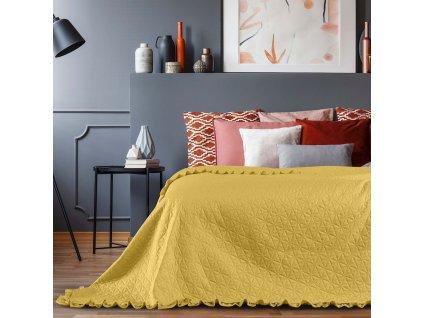 Přehoz na postel TULIA 220x240 cm mustard/hořčicová Mybesthome