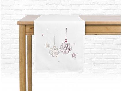Ubrus - běhoun na stůl CHRISTMAS GLAM, 35x175 cm, bílá, motiv A, ESSEX
