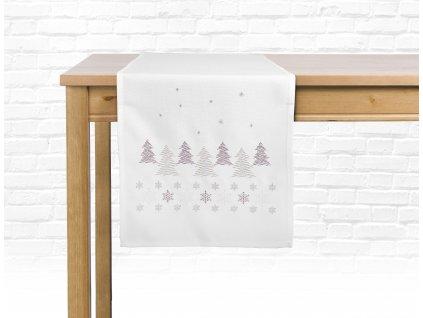 Ubrus - běhoun na stůl CHRISTMAS GLAM, 35x175 cm, bílá, motiv B, ESSEX