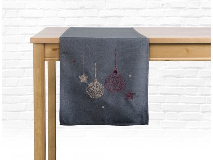 Ubrus - běhoun na stůl CHRISTMAS GLAM, 35x175 cm, šedá, motiv A, ESSEX
