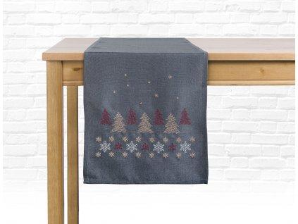 Ubrus - běhoun na stůl CHRISTMAS GLAM, 35x175 cm, šedá, motiv B, ESSEX