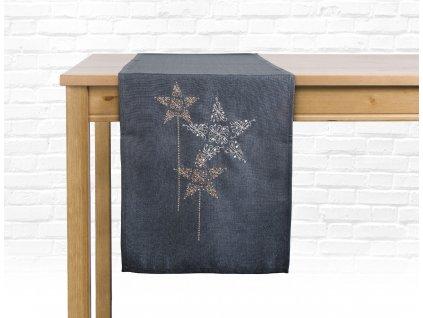 Ubrus - běhoun na stůl CHRISTMAS GLAM, 35x175 cm, šedá, motiv C, ESSEX