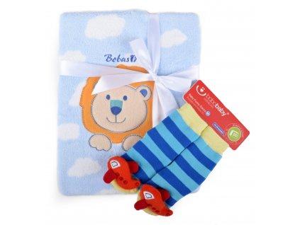Dětská deka s aplikací LUCKA s dárkem modrá - lvíček A 76x102 cm Bobobaby