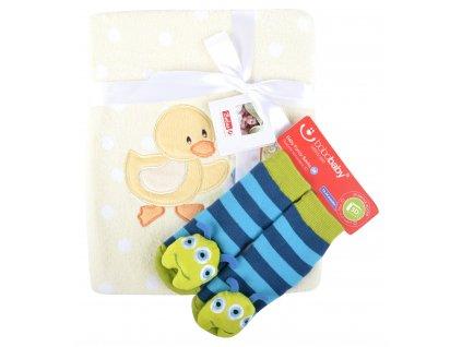 Dětská deka s aplikací LUCKA s dárkem žlutá - kačenka A 76x102 cm Bobobaby