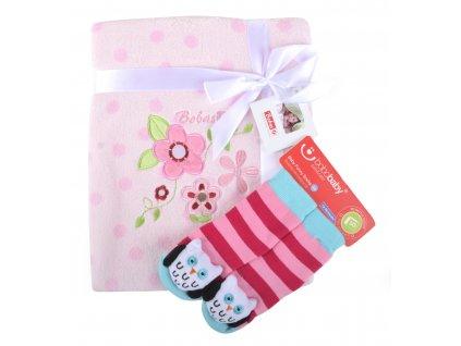 Dětská deka s aplikací LUCKA s dárkem růžová - kytička - B 76x102 cm Bobobaby