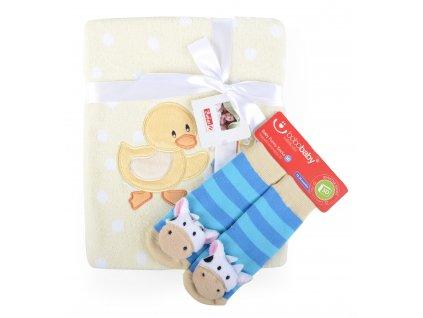 Dětská deka s aplikací LUCKA s dárkem žlutá - kačenka B 76x102 cm Bobobaby