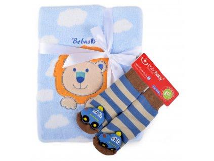 Dětská deka s aplikací LUCKA s dárkem modrá - lvíček B 76x102 cm Bobobaby