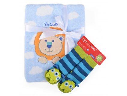Dětská deka s aplikací LUCKA s dárkem modrá - lvíček C 76x102 cm Bobobaby