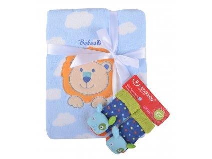 Dětská deka s aplikací LUCKA s dárkem modrá - lvíček D 76x102 cm Bobobaby