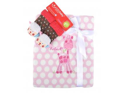 Dětská deka s aplikací LUCKA s dárkem růžová - žirafka - A 76x102 cm Bobobaby