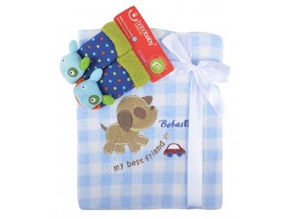 Dětská deka s aplikací LUCKA s dárkem modrá - pejsek B 76x102 cm Bobobaby