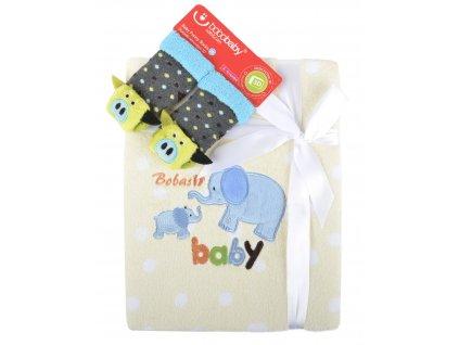 Dětská deka s aplikací LUCKA s dárkem žlutá - slůně A 76x102 cm Bobobaby