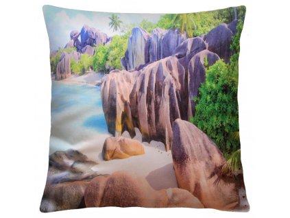Polštář EXOTIC 40x40cm fototisk 3D motiv skalnaté pobřeží  MyBestHome