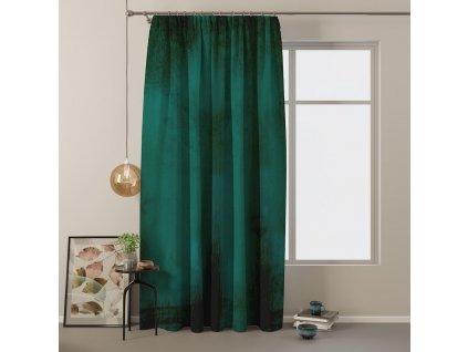 Dekorační velvet závěs s řasící páskou RAFAEL tmavě zelená 140x245 cm MyBestHome
