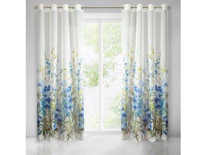 Dekorační vzorovaná záclona BETHY bílá/modrá 140x250 cm MyBestHome