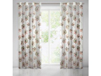 Dekorační vzorovaná záclona KARINA krémová/hnědá 140x250 cm MyBestHome