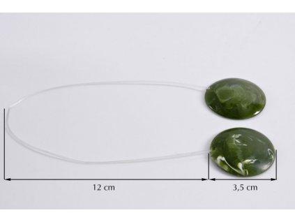 Dekorační ozdobná spona na závěsy s magnetem TOSCA zelená, Ø 3,5 cm Mybesthome