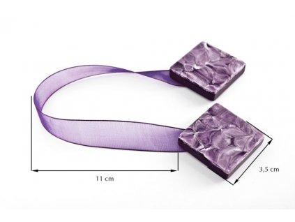 Dekorační ozdobná spona na závěsy s magnetem TAMAY fialová, 3,5x3,5 cm Mybesthome