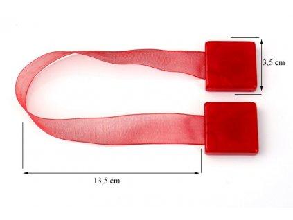 Dekorační ozdobná spona na závěsy s magnetem SAMY červená, 3,5x3,5 cm Mybesthome - cena je za 2 kusy v balení