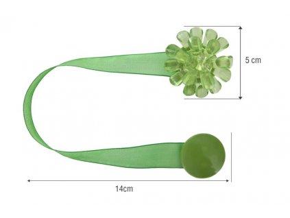 Dekorační ozdobná spona na závěsy s magnetem MONA, zelená, Ø 5 cm Mybesthome cena za 2 kusy balení