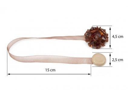 Dekorační ozdobná spona na závěsy s magnetem MARTINA, hnědá, Ø 4,5 cm Mybesthome cena za 2 ks v balení