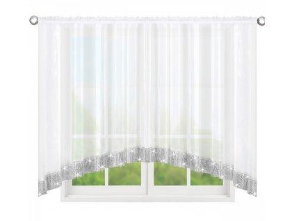 Dekorační krátká záclona se zirkony CHRISTINE bílá