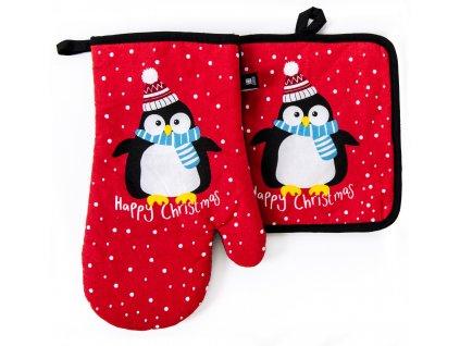 Kuchyňský set rukavice/chňapka SNOW FUN, červená, motiv tučňák 18x30 cm/20X20 cm ESSEX