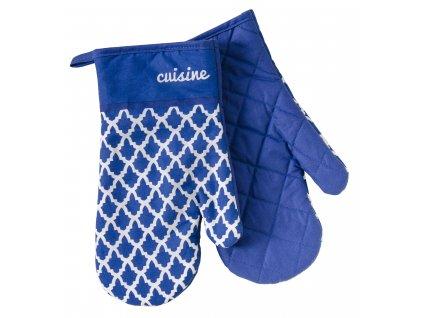Kuchyňské bavlněné rukavice - chňapky MARAKESH modrá, 100% bavlna 19x30 cm Essex