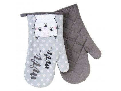 Kuchyňské bavlněné rukavice - chňapky MEOW, motiv A, 100% bavlna 19x30 cm Essex