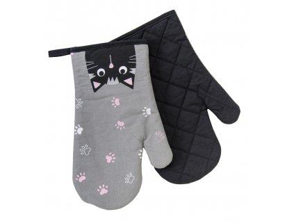 Kuchyňské bavlněné rukavice - chňapky MEOW, motiv B, 100% bavlna 19x30 cm Essex