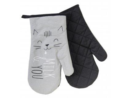 Kuchyňské bavlněné rukavice - chňapky MEOW, motiv C, 100% bavlna 19x30 cm Essex
