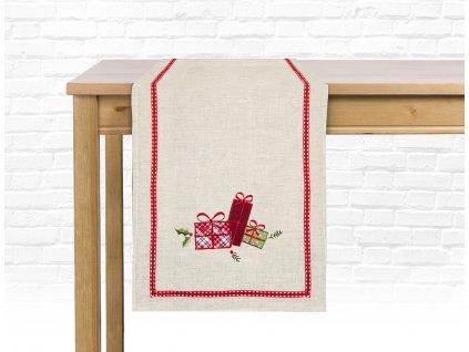 Ubrus - běhoun na stůl BOXING DAY - motiv dárečky 35x180 cm, ESSEX