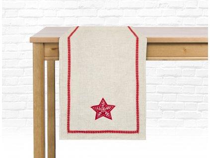 Ubrus - běhoun na stůl BOXING DAY - motiv hvězda 35x180 cm, ESSEX