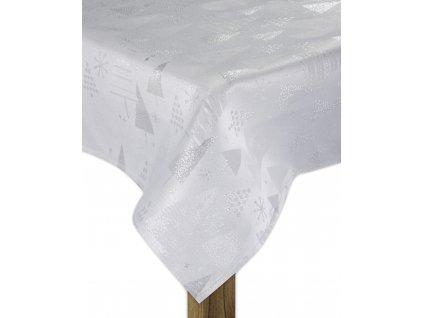 Ubrus FROSTY XMAS stříbrná 130x180 cm motiv stromečky ESSEX
