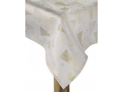 Ubrus FROSTY XMAS zlatá 130x180 cm motiv stromečky ESSEX