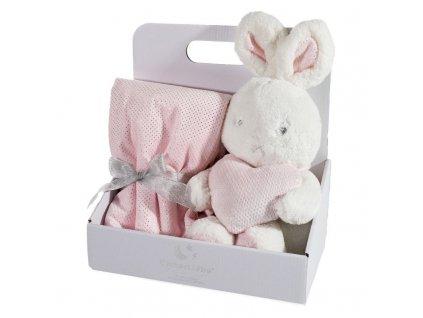 Dárkový set - dětská hračka ZAJÍČEK s mikrovláknovou dekou růžová 75X100 cm