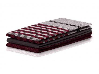 SET 3 kusů utěrka WANDA černá/vínová, 100% bavlna 50x70 cm MyBestHome