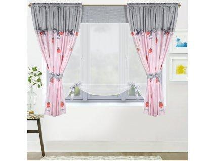 Dekorační závěsy AGNES šedá/růžová 2 kusy 145x160 cm s voálovým panelem 130x145 cm MyBestHome