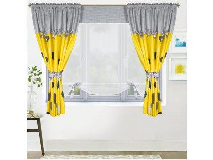 Dekorační závěsy AGNES šedá/žlutá 2 kusy 145x160 cm s voálovým panelem 130x145 cm MyBestHome