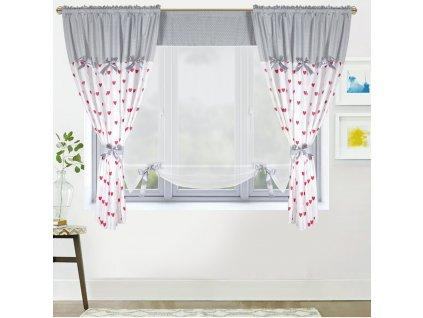 Dekorační závěsy AGNES šedá/bílá 2 kusy 145x160 cm s voálovým panelem 130x145 cm MyBestHome