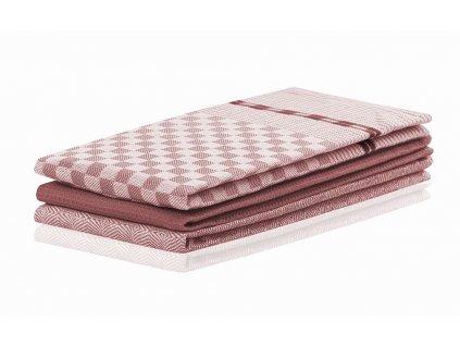 SET 3 kusů utěrka WANDA růžová, 100% bavlna 50x70 cm MyBestHome