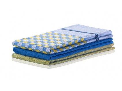 SET 3 kusů utěrka WANDA žlutá/modrá, 100% bavlna 50x70 cm MyBestHome