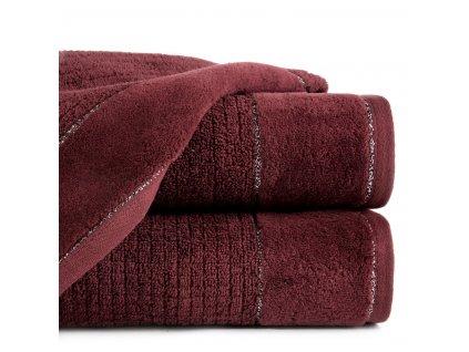 Bavlněný froté ručník s bordurou DAGA 50x90 cm, vínová, 520 gr Eva Minge