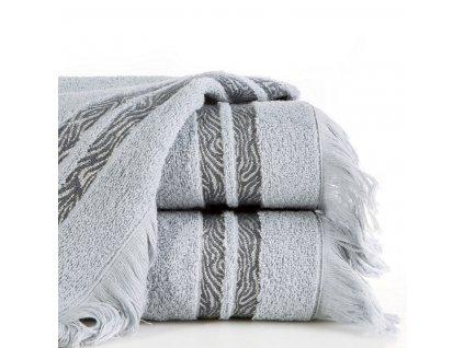Bavlněný froté ručník s aplikací INKA 50x90 cm, stříbrná, 485 gr Mybesthome
