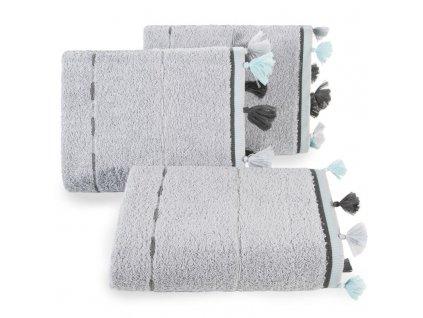 Bavlněný froté ručník s aplikací VERA 50x90 cm, stříbrná, 450 gr Mybesthome
