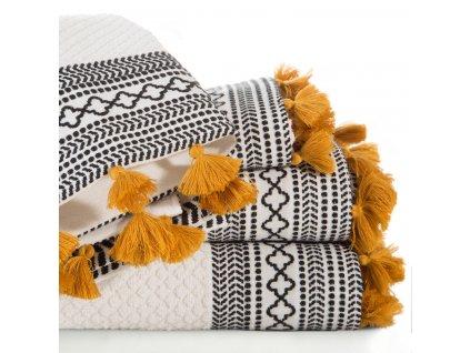 Bavlněný froté ručník s aplikací INA 50x90 cm, krémová, 450 gr Mybesthome